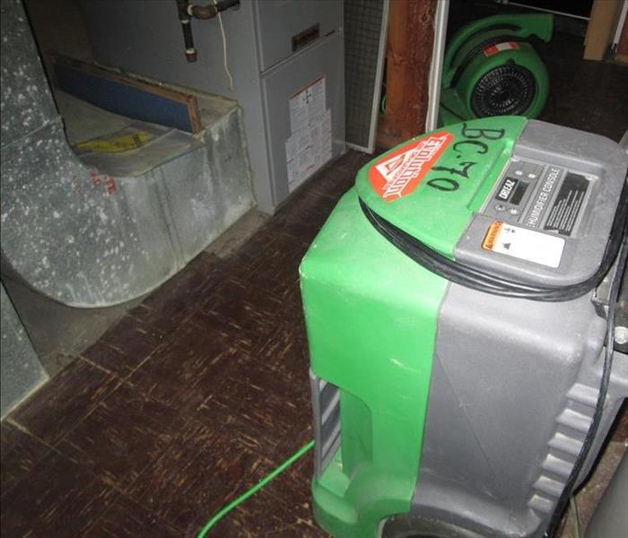 SERVPRO equipment  in dry utility room.