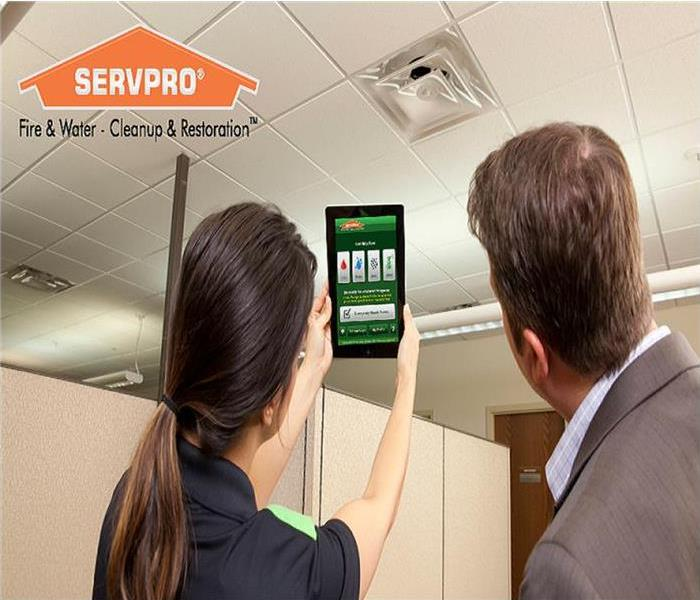 SERVPRO technician holding an iPad with the SERVPRO APP showing a business man.