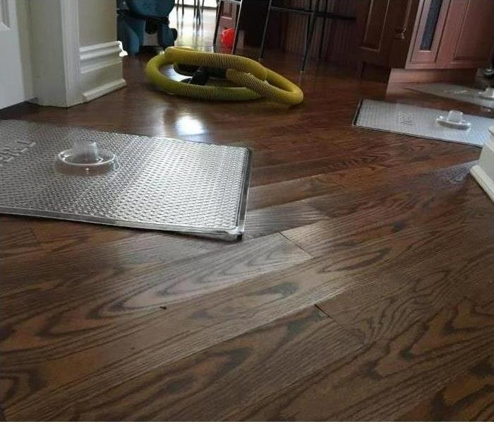 Interior of home with floor drying mats on a hard wood floor.