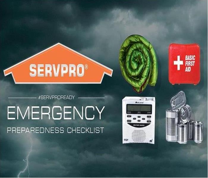 SERVPRO logo with Safety items for a storm